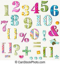 set, getallen, kleurrijke