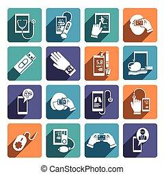 set, gezondheid, digitale , iconen