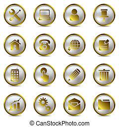set, goud, iconen