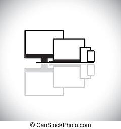 set, graphic., moderne, draagbare computer, gadgets, ontwerp, bestaat, web, tablet, iconen, -, desktop, cel, pc computer, monitor, gebruikt, telefoon, aantekenboekje, telefoon, grafisch, zoals, dit, beweeglijk, vector, of