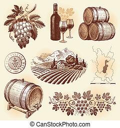set, -, hand, vector, getrokken, winemaking, wijntje