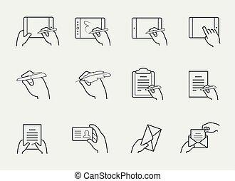 set, het op elkaar inwerken, voorwerpen, mager, holdingshanden, lijn, pictogram