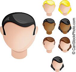 set, hoofden, mensen, haar, kleuren, 4, huid, female., mannelijke