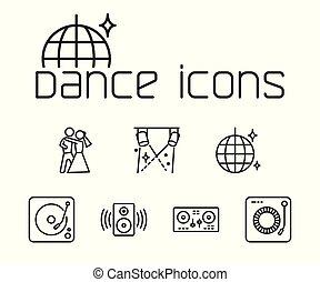 set, iconen, dans, achtergrond, lijn, witte