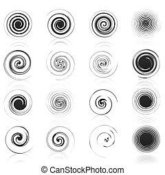 set, iconen, illustratie, spirals., vector, black