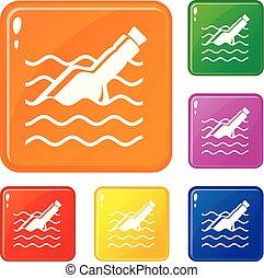 set, iconen, kleur, vector, fles, boodschap