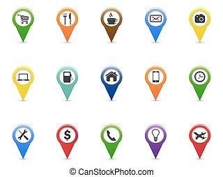 set, iconen, kleur, wijzer, navigatie, navigatiesysteem