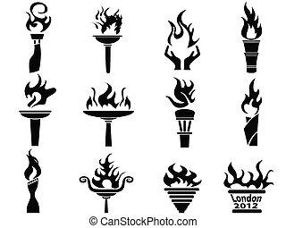 set, iconen, vuur, toorts, vlam, black
