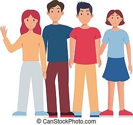 set, illustratie, groep, vrijstaand, mensen