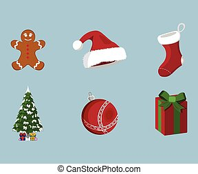 set, illustratie, kerstmis, spotprent, vector, icon., style., kerstmis, dag