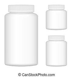 set, illustratie, plastic, verpakking, vector, fles, leeg, witte , 2., design.