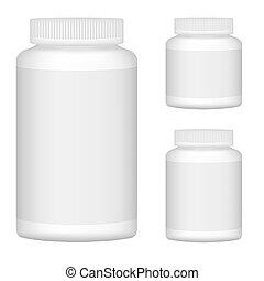 set, illustratie, plastic, verpakking, vector, fles, leeg, witte , design., 1.