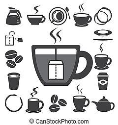 set., illustratie, thee, pictogram, kop, koffie