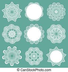 set, kant, servetten, -, vector, ontwerp, plakboek