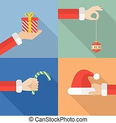 set, kerstman, verzameling, hand, voorwerpen, vasthouden, kerstmis