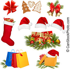 set, kerstmis, objects., vector.