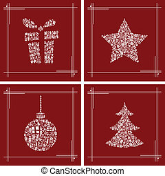 set, kerstmis, symbool, abstract