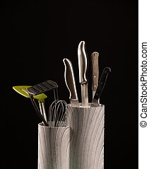set, keuken, achtergrond, black , messen