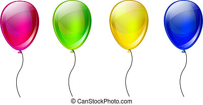 set, kleur, ballons