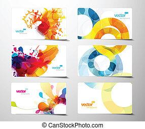 set, kleurrijke, cadeau, abstract, gespetter, kaarten.