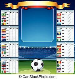 set, kop, vector, achtergrond, wereld, voetbal, tafel.