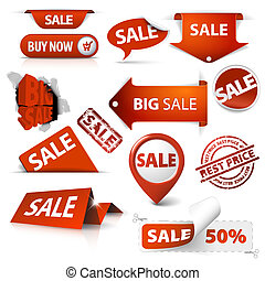 set, markeringen, etiketten, verkoop, hoeken, kaartjes, postzegels, stickers