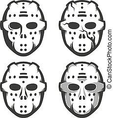 set, masker, -, goalie, vier, retro, opties, hockey