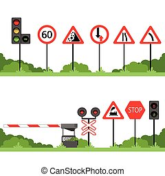 set, meldingsbord, vector, gevarieerd, tekens & borden, illustraties, verkeer, straat