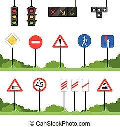 set, meldingsbord, vector, verkeerstekens, illustraties, gevarieerd, straat