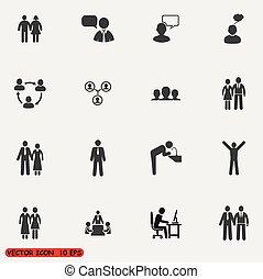 set, mensen, iconen