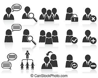 set, mensen, symbool, iconen, black , sociaal