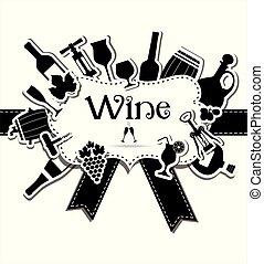 set, menu, design., yours, kaart, wijntje