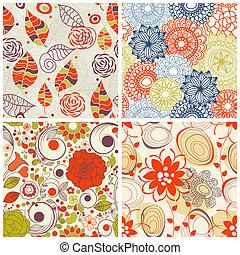 set, model, seamless, floral, kleuren, modieus
