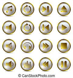 set, muziek, goud, iconen