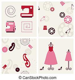 set., naaiwerk, achtergronden, voorwerpen
