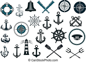 set, nautisch, iconen