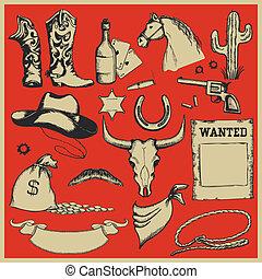 set, objects., westelijk, cowboy