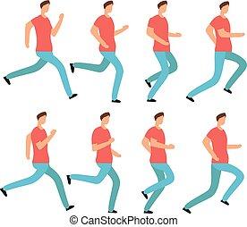 set, opeenvolging, animatie, jonge, clothes., vrijstaand, ongedwongen, rennende , vector, lijstjes, jogging., mannelijke , spotprent, man