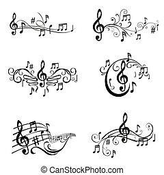 set, opmerkingen, -, illustratie, vector, muzikalisch
