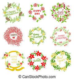 set, ouderwetse , krans, -, nieuw, vector, ontwerp, jaar, plakboek, kerstmis