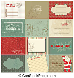 set, ouderwetse , vector, ontwerp, kerstmis, communie
