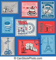 set, parijs, ouderwetse , -, frankrijk, postzegels, vector, ontwerp, plakboek