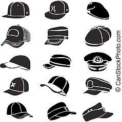 set, pet, vrijstaand, vector, honkbal, kloppen, witte hoed, pictogram