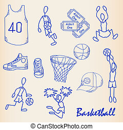 set, pictogram, basketbal, hand, getrokken