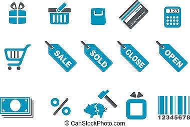 set, pictogram, shoppen