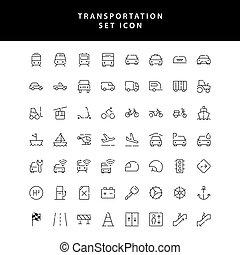 set, pictogram, vervoer, schets