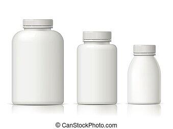 set., plastic, realistisch, fles, witte , koel