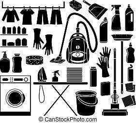 set, poetsen, pictogram