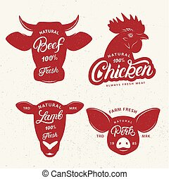 set, poster., vleeshouwerij, embleem, etiket, logo
