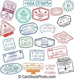 set, postzegels, visum, vertrek, aankomst